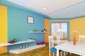 Orange blue dining room 3d render Royalty Free Stock Photo