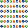 Orange blue and green button icons Royalty Free Stock Photo