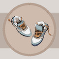 Orange-blue sneakers sketch Royalty Free Stock Photo