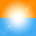 Orange and blue sunny background with shining sun illustration Stock Photos