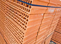 Orange brick building wall material Stock Images