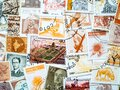 Orange and brown vintage postmarks, stamp collecting. Hobby concept Royalty Free Stock Photo