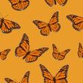 Orange butterfly monarch on a light orange background. seamless pattern. Vector illustration EPS 10