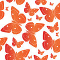 Orange Butterfly seamless pattern. Summer mood background. Vector illustration. Royalty Free Stock Photo