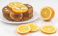 Orange cake an almond upside down Royalty Free Stock Image