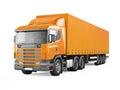 Orange cargo delivery truck.