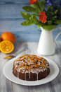 Orange and carrot cake with icing Stock Photo