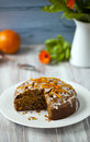 Orange and carrot cake with icing Stock Image