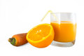 Orange and carrot juice on white Royalty Free Stock Photos