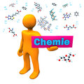 Orange cartoon character with molecule and german text chemie translate chemistry Royalty Free Stock Photos