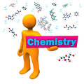 Orange cartoon character with molecule and text chemistry Stock Images