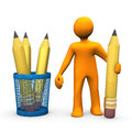 Orange cartoon character with pencils on the white background Royalty Free Stock Photo