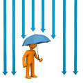 Orange cartoon character with umbrella and blue arrows Royalty Free Stock Images
