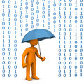 Orange cartoon character with umbrella and data rain Stock Photography