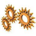 Orange cartoon characters as gears on the white background Royalty Free Stock Image