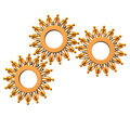 Orange cartoon characters as gears on the white background Royalty Free Stock Photos