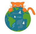 The orange cat and the earth funny cute cartoon illustration Royalty Free Stock Photo