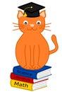 Orange cat graduate funny cartoon illustration Royalty Free Stock Photo
