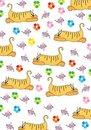 Orange cat hunts on a pink mouse Royalty Free Stock Photo