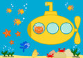 Orange cat in a yellow submarine funny cartoon illustration Royalty Free Stock Photo