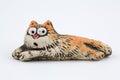 Oranžový keramický mačka