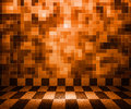 Orange Chessboard Mosaic Room Background Stock Photography