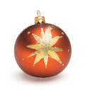 Orange christmas ball tree decoration isolated on white backrground Royalty Free Stock Photo