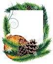 Orange christmas tree decoration with pine cones bauble fir branches and on white background Royalty Free Stock Photos