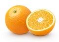 Orange citrus fruit with half isolated on white Royalty Free Stock Photo