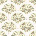 Orange citrus fruit tree with leaves. Hand drawn seamless pattern illustration