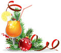 Orange cocktail spruce branches and baubles with lemon ice cubes christmas decorations on white background Royalty Free Stock Photo