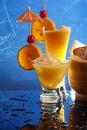 Orange cocktails on blue Royalty Free Stock Photo