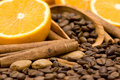 Orange, coffee and cinnamon Stock Images