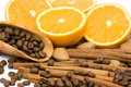 Orange, coffee, cinnamon and almonds Stock Image