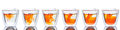 Orange color spread in glass of water show six step it to Stock Image