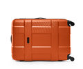 Orange color suitcase. lying on its side Royalty Free Stock Photo