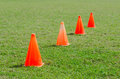Orange cone markers on the green grass Royalty Free Stock Photo