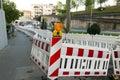 Orange construction Street barrier light on barricade. Road cons Royalty Free Stock Photo
