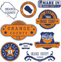 Orange county, CA. Set of stamps and signs Royalty Free Stock Photo