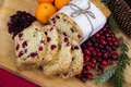 Orange cranberry loaf cake with christmas decoration Stock Photo