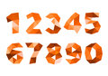 Orange crumpled numerals isolated on white background d illustration Royalty Free Stock Photography