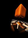 Orange cube above other cubes Royalty Free Stock Photos