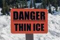 Orange Danger Thin Ice Sign Royalty Free Stock Photo