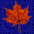 Orange decorative maple leaf. Royalty Free Stock Photo