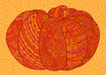 Orange decorative pumpkin for Halloween and thanksgiving. Royalty Free Stock Photo