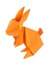 Orange easter bunny of origami. Royalty Free Stock Photo