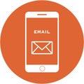 Orange email design in a flat round button