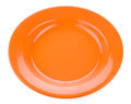 Orange empty plate on white background isolated Royalty Free Stock Photo