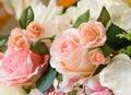 Orange fabric roses Royalty Free Stock Photo