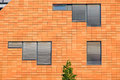 Orange facade with windows Royalty Free Stock Photo